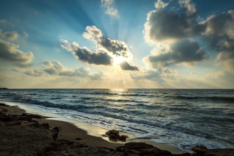 Coucher du soleil de Haifa Israel photo stock