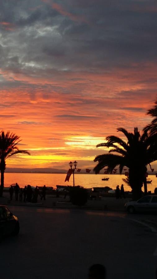 Coucher du soleil de Hammamet photos libres de droits