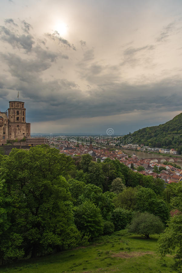 Coucher du soleil de HDR Heidelberg dans la verticale image libre de droits