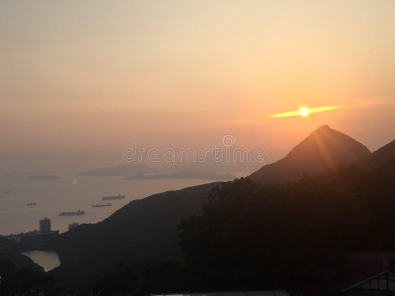 Coucher du soleil de Hong Kong images libres de droits