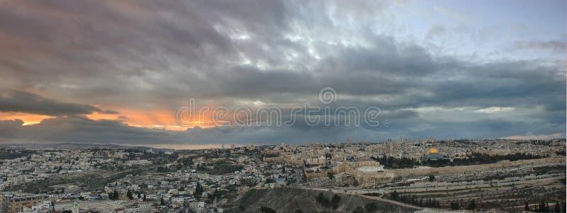 Coucher du soleil de Jérusalem image stock