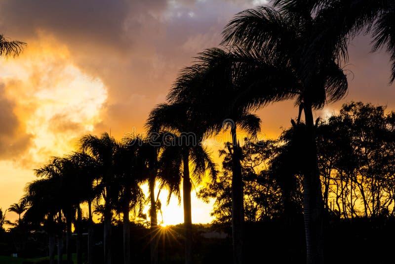 Coucher du soleil de Kauai image stock