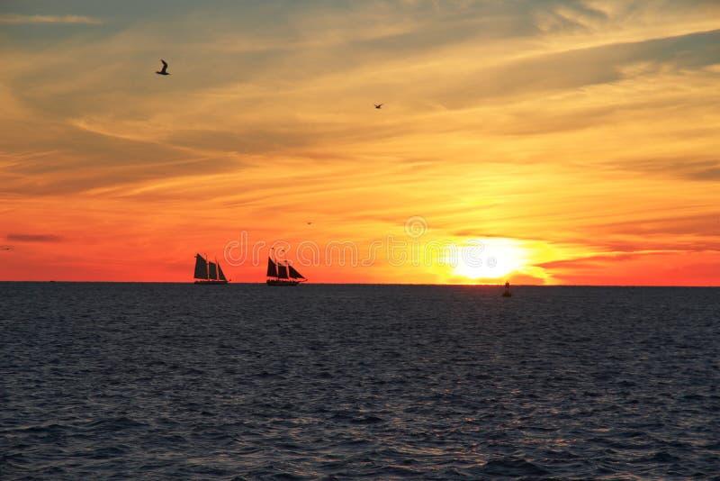 Coucher du soleil de Key West - la Floride - les Etats-Unis image libre de droits