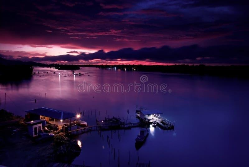 Coucher du soleil de Kota Kinabalu image libre de droits