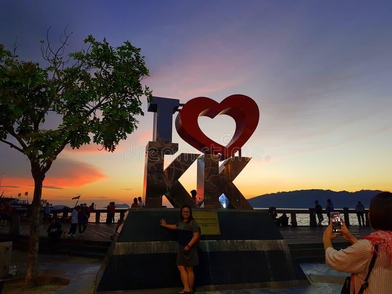 Coucher du soleil de Kota Kinabalu photographie stock libre de droits