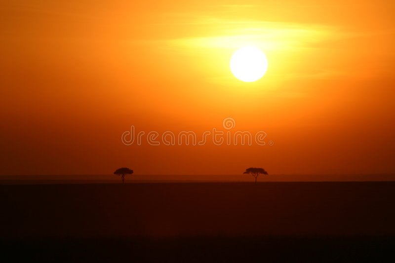 coucher du soleil de l'Afrique photo libre de droits