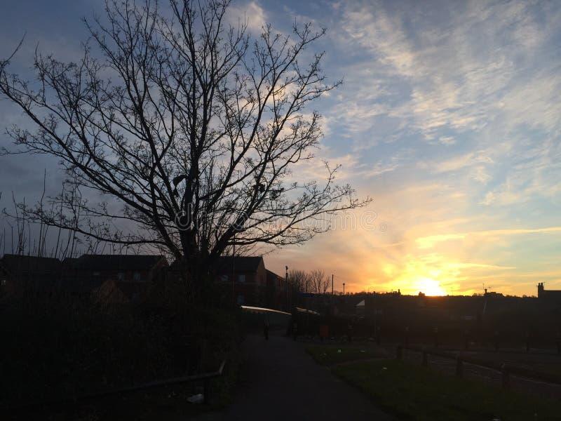 Coucher du soleil de l'Angleterre photo stock