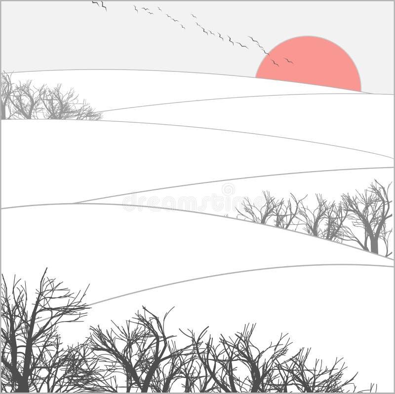 Coucher du soleil de l'hiver illustration libre de droits