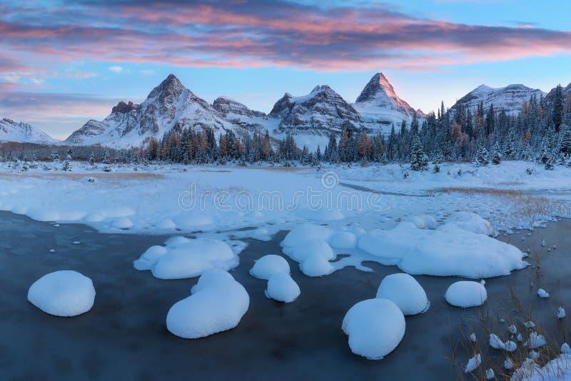 Coucher du soleil de l'hiver Le bâti Assiniboine, également connu sous le nom de montagne d'Assiniboine, est une montagne maximal photos stock