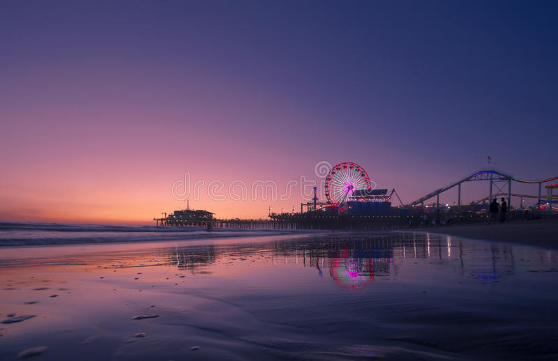 Coucher du soleil de la Californie au-dessus de Santa Monica photo stock