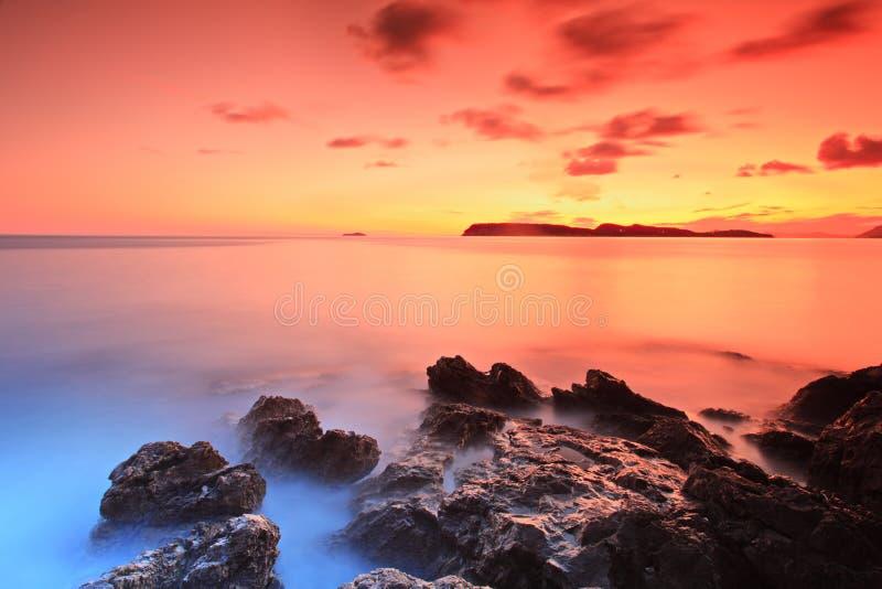 coucher du soleil de la Croatie dubrovnik images stock