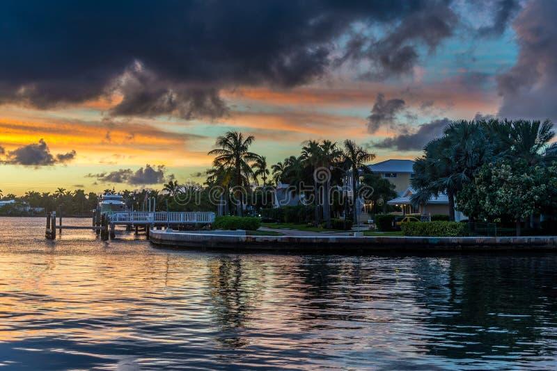 Coucher du soleil de la Floride image libre de droits