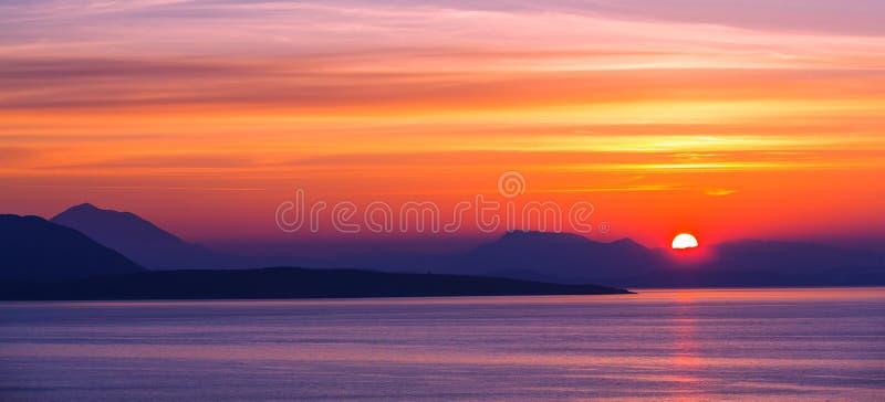 Coucher du soleil de la Grèce images libres de droits