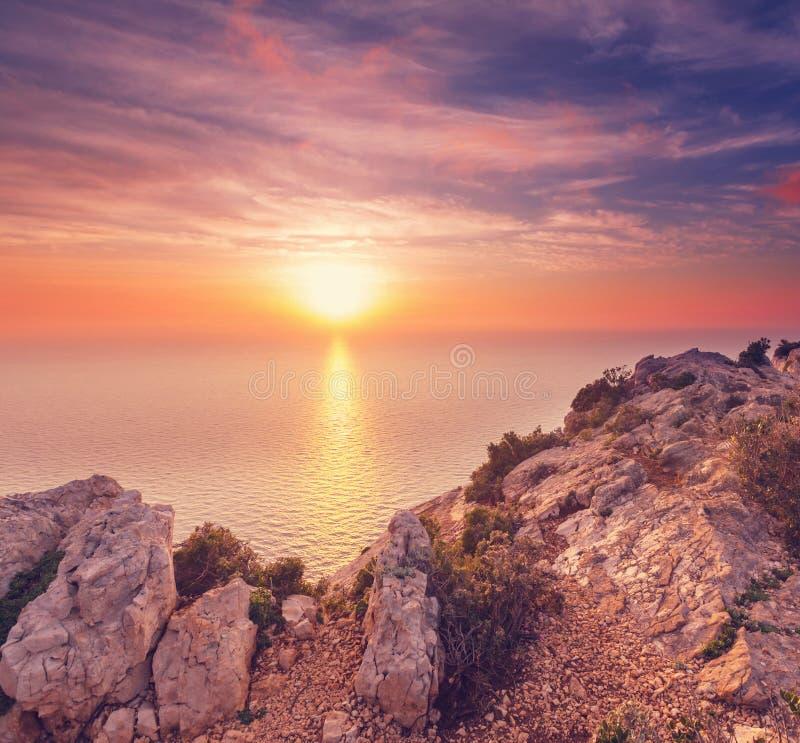 Coucher du soleil de la Grèce image stock