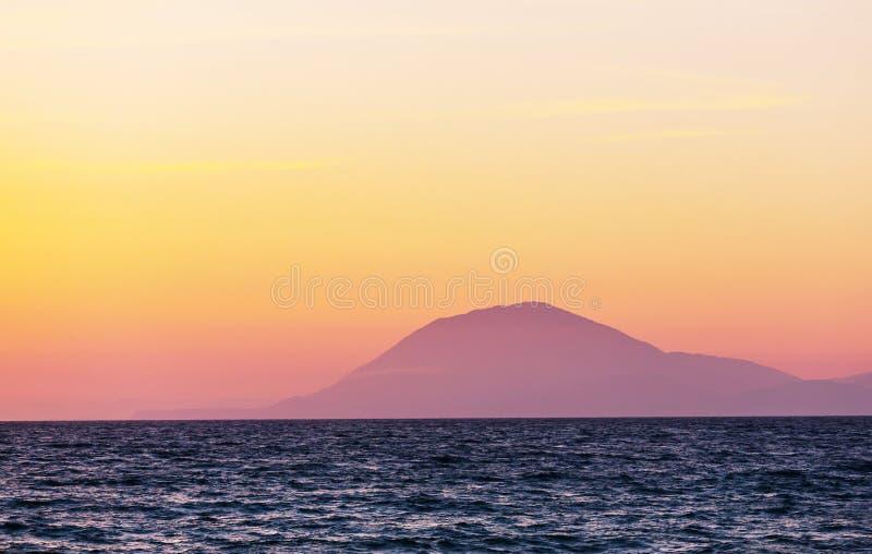 Coucher du soleil de la Grèce image libre de droits