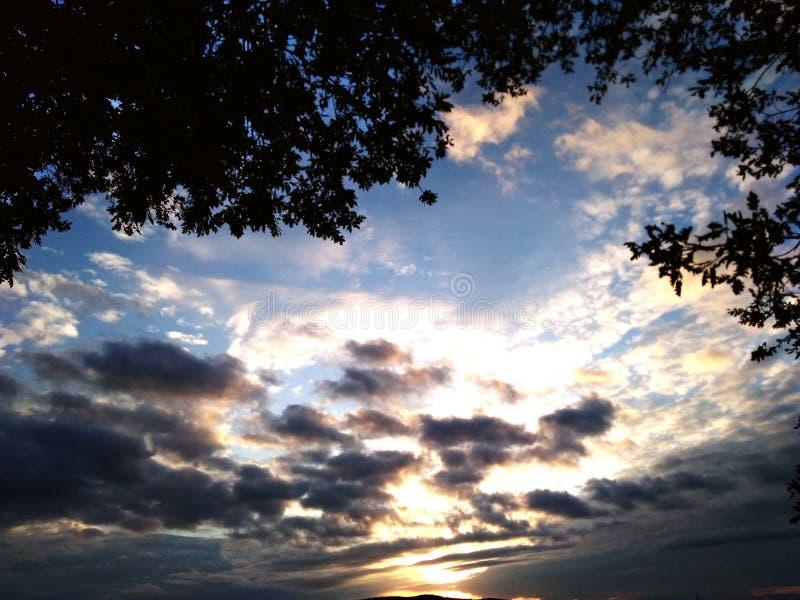 Coucher du soleil de la Toscane image libre de droits