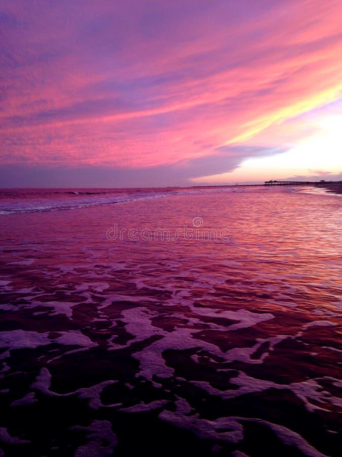 Coucher du soleil de la ville NJ d'océan photographie stock libre de droits