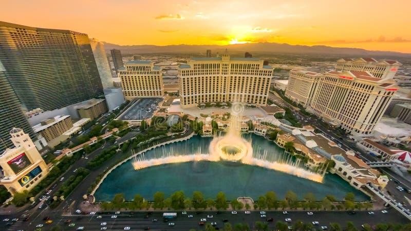 Coucher du soleil de Las Vegas Bellagio image libre de droits
