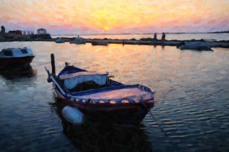 Coucher du soleil de Leucade, photo de style de peinture à l'huile images libres de droits