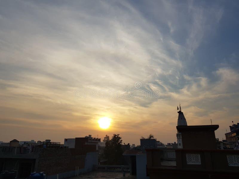 Coucher du soleil de lever de soleil de soleil de beauté de nature photos libres de droits