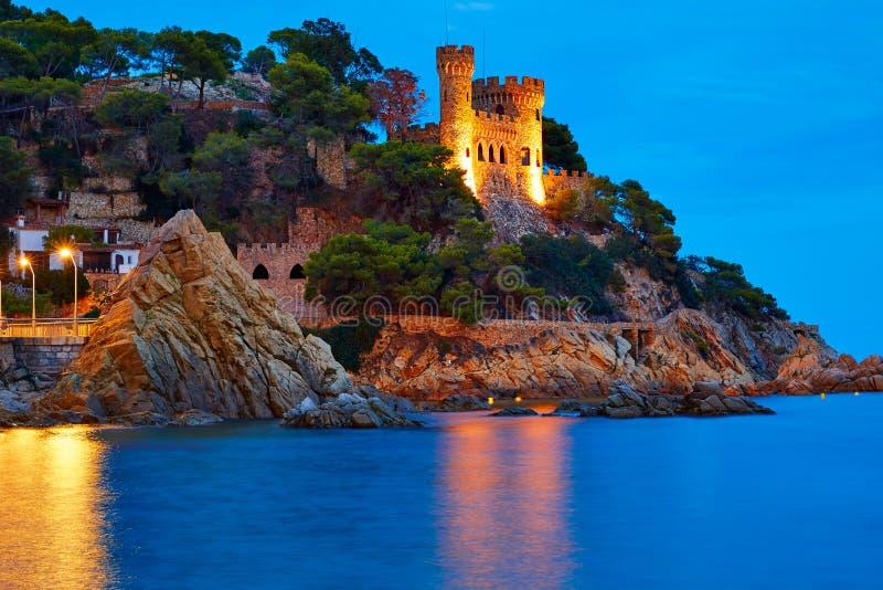 Coucher du soleil de Lloret de Mar chez Costa Brava Catalonia photos libres de droits