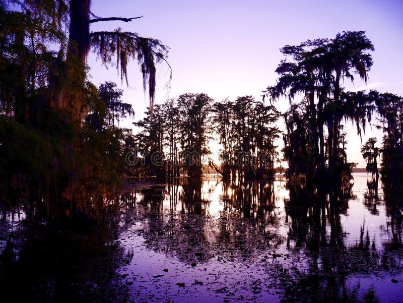 Coucher du soleil de Martin de lac photo stock
