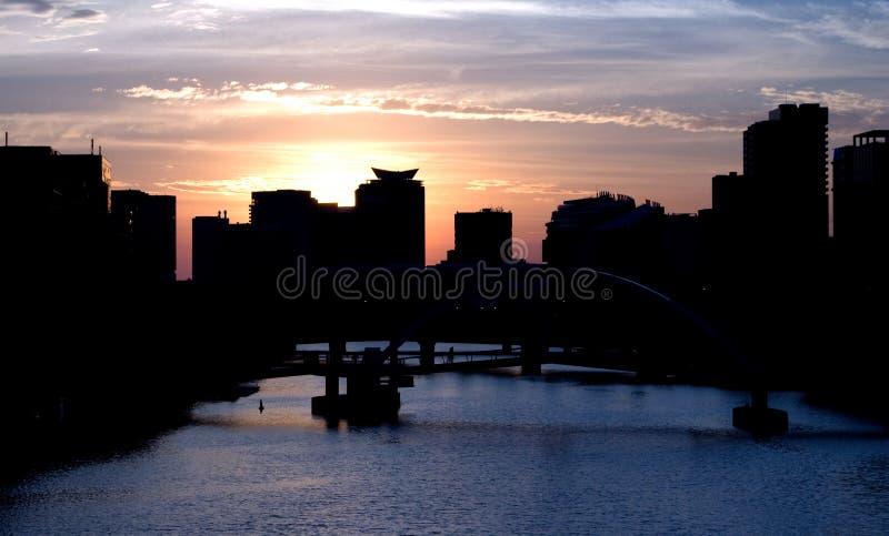 Coucher du soleil de Melbourne photo stock