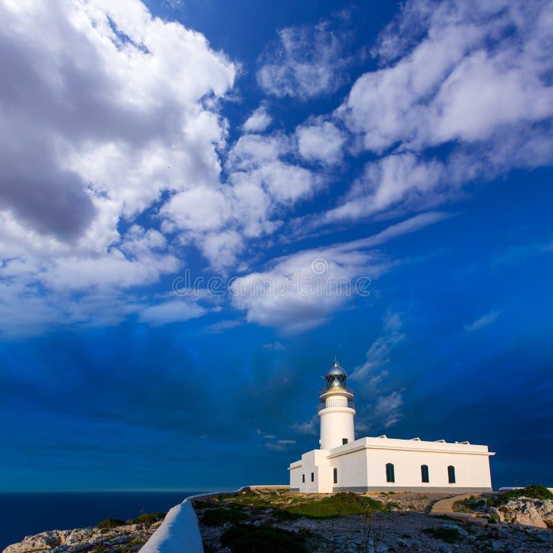 Coucher du soleil de Menorca à Faro de Caballeria Lighthouse photos libres de droits