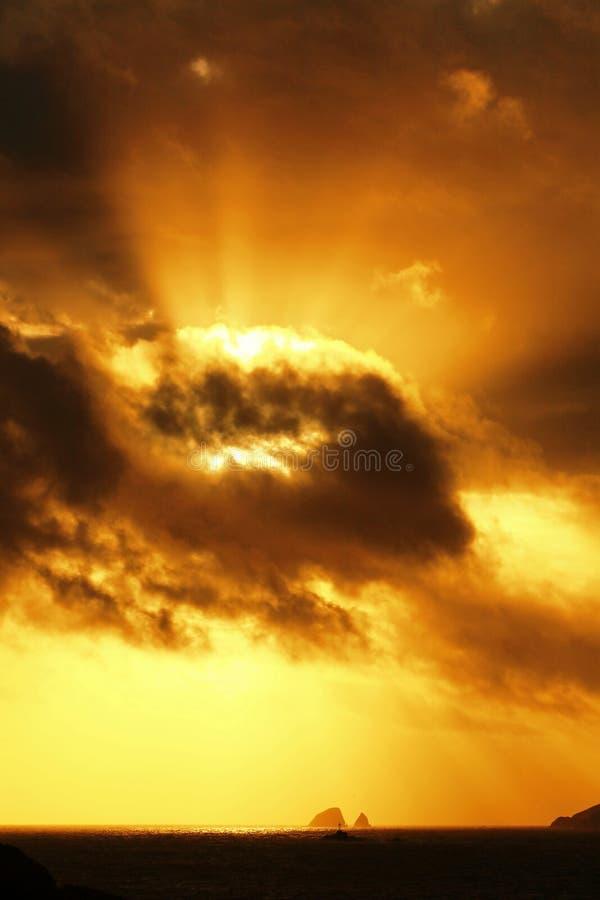 Coucher du soleil de mer images stock