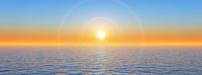 Coucher du soleil de mer illustration de vecteur