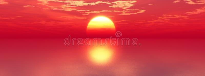 Coucher du soleil de mer illustration libre de droits