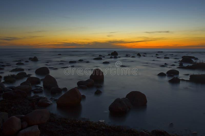 coucher du soleil de mer baltique image libre de droits