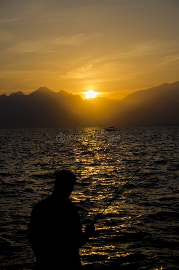 Coucher du soleil de mer de Medterranean, coucher du soleil étonnant à Antalya images libres de droits