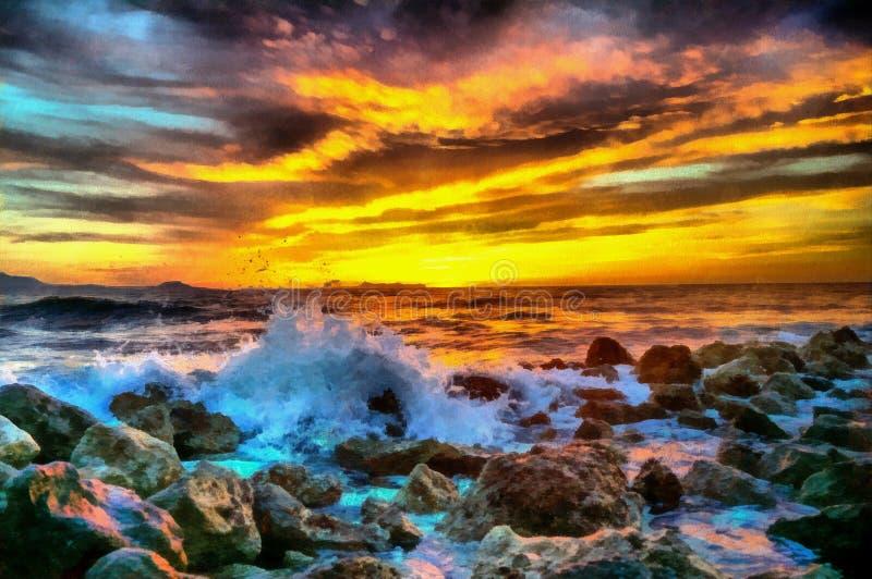 Coucher du soleil de mer, peinture à l'huile photographie stock