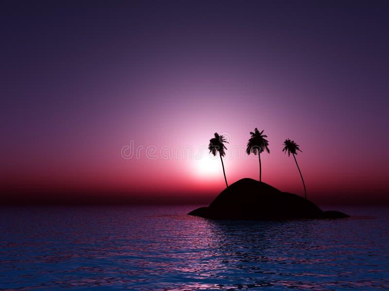 coucher du soleil de mer tropical illustration libre de droits