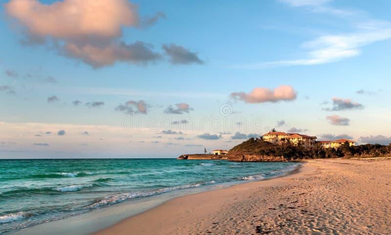 Coucher du soleil de mer, Varadero, Cuba photos libres de droits