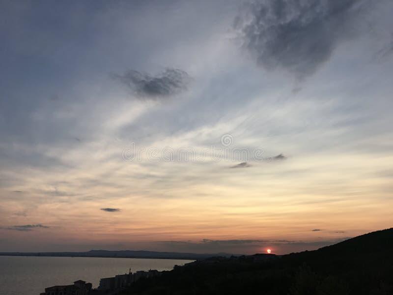 Coucher du soleil de mer de Vlas de saint image libre de droits