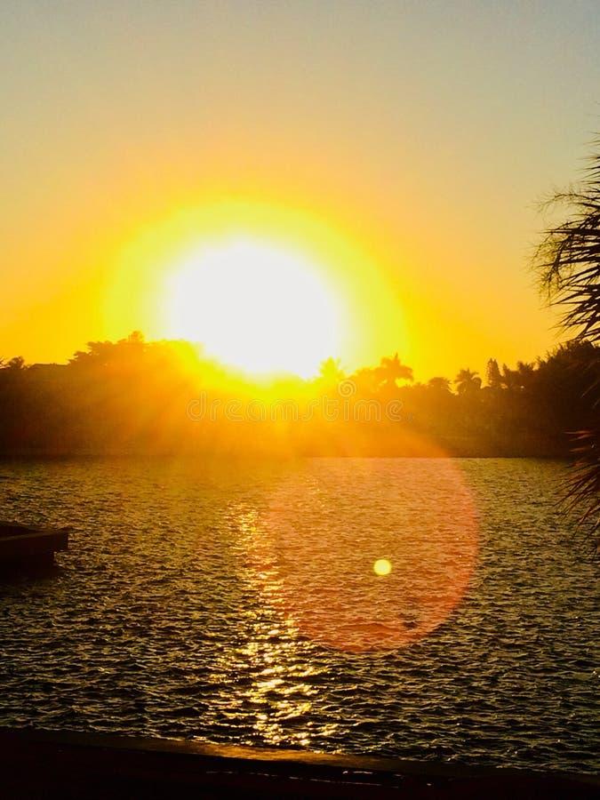 coucher du soleil de Miami de plage photo libre de droits