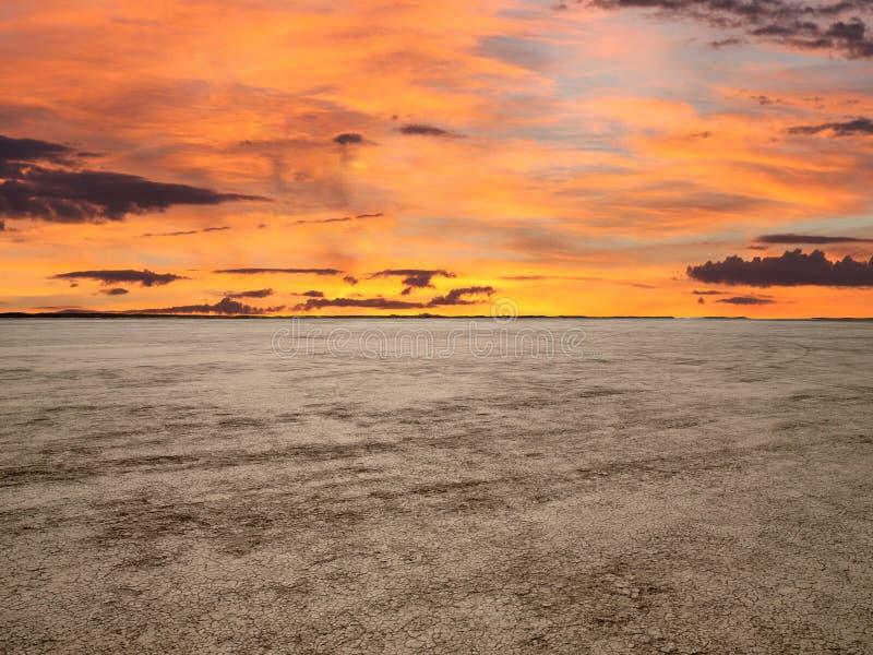 Coucher du soleil de Mojave de mirage d'EL photographie stock