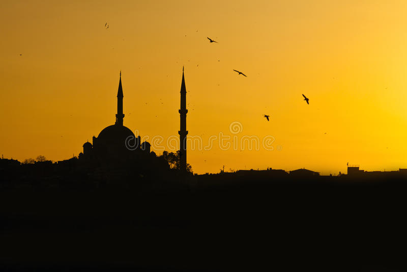 Coucher du soleil de mosquée photo libre de droits
