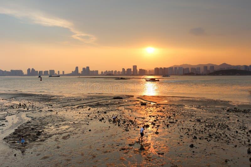 Coucher du soleil de Mudflat photographie stock