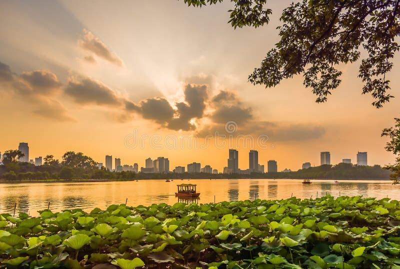 Coucher du soleil de Nanjing photographie stock libre de droits