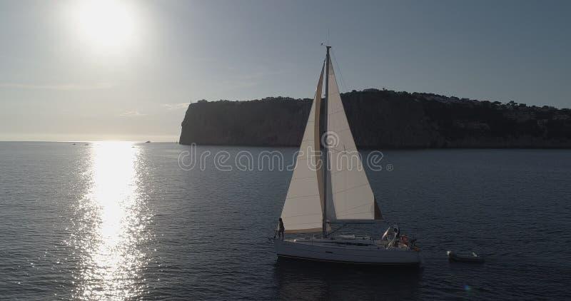 Coucher du soleil de navigation photo stock