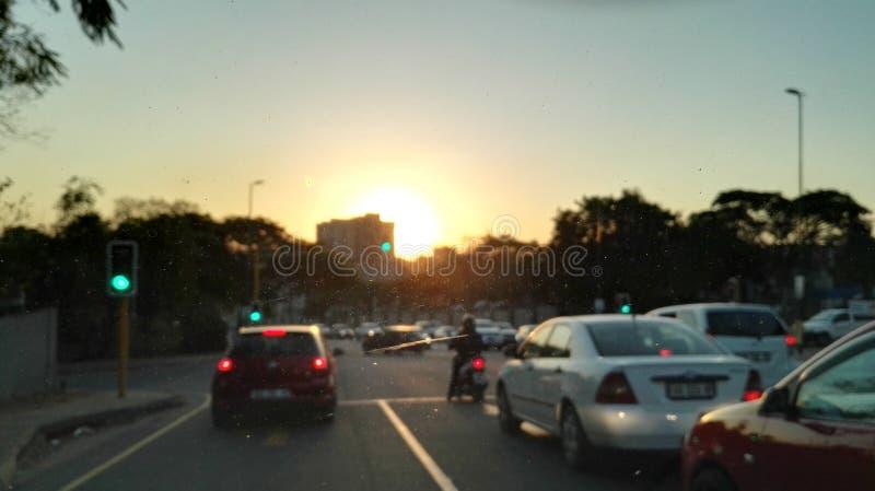 Coucher du soleil de Nelspruit au-dessus de la ville image stock