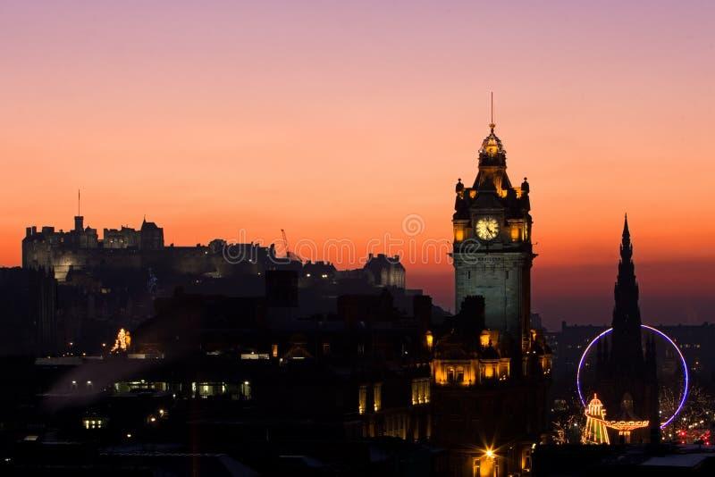 Coucher du soleil de Noël d'Edimbourg photographie stock