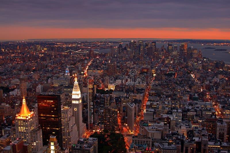 Coucher du soleil de NYC image libre de droits