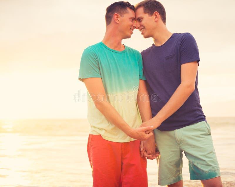 Coucher du soleil de observation de couples gais images libres de droits