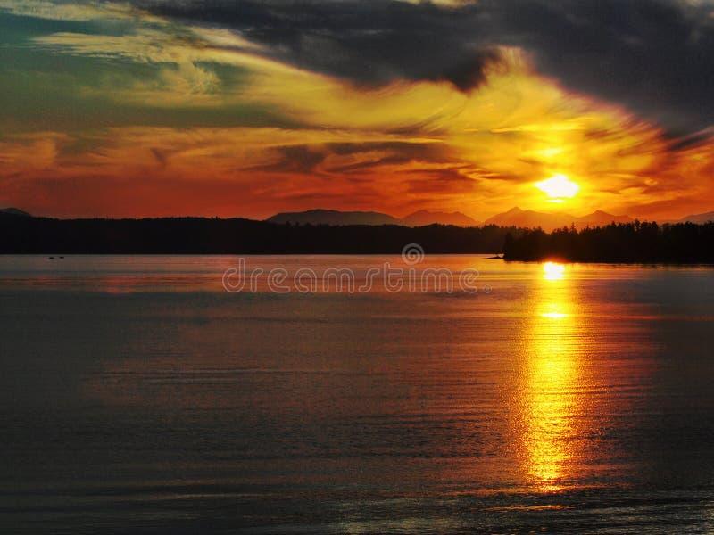 Coucher du soleil de Patricia Bay photographie stock libre de droits