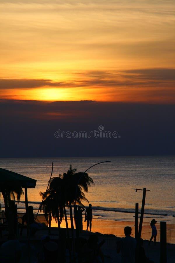 coucher du soleil de paume de plage photographie stock
