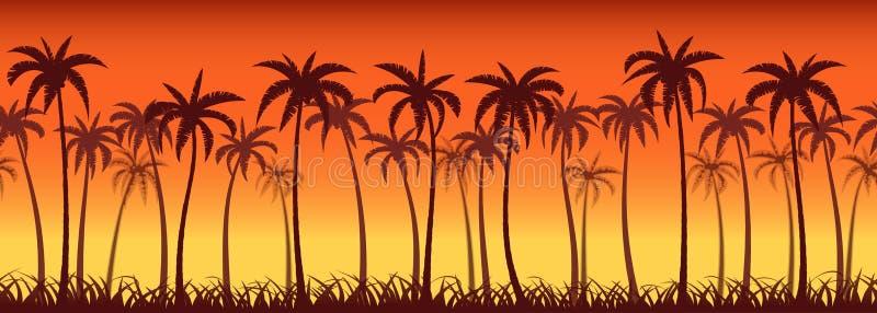Coucher du soleil de paumes illustration libre de droits